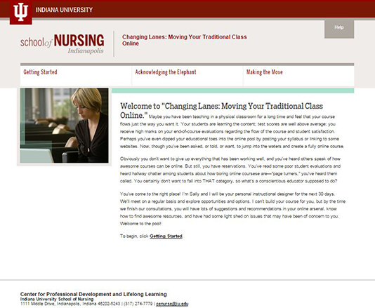 Home page of the Changing Lanes: Moving Your Traditional Online Course