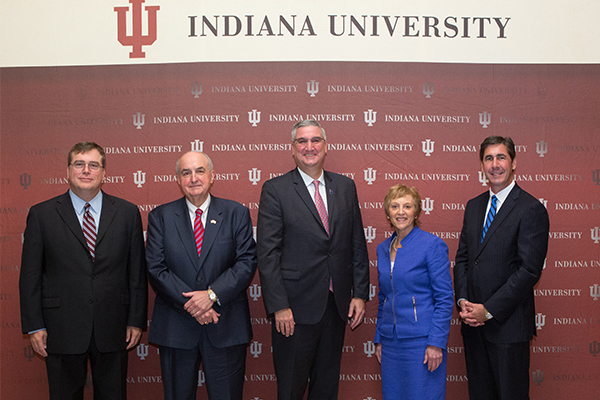 Fred H. Cate, President McRobbie, Governor Holcomb, Robin Newhouse, and Dennis Murphy